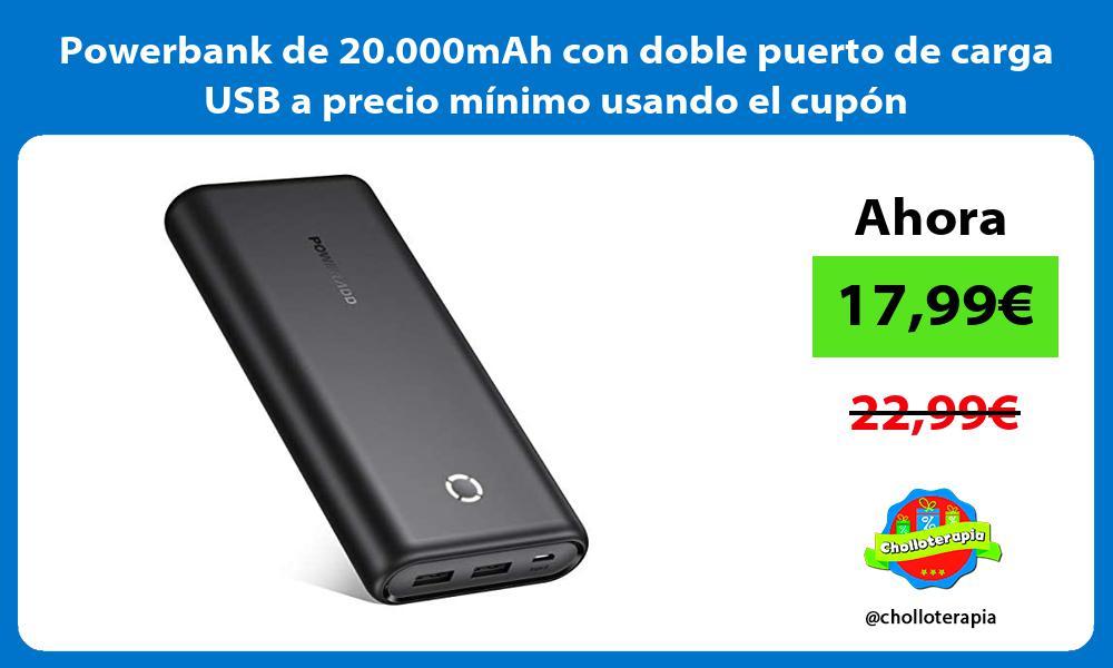 Powerbank de 20 000mAh con doble puerto de carga USB a precio mínimo usando el cupón