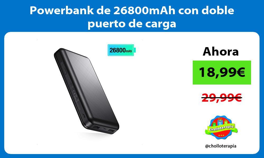 Powerbank de 26800mAh con doble puerto de carga