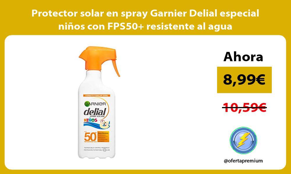 Protector solar en spray Garnier Delial especial niños con FPS50 resistente al agua