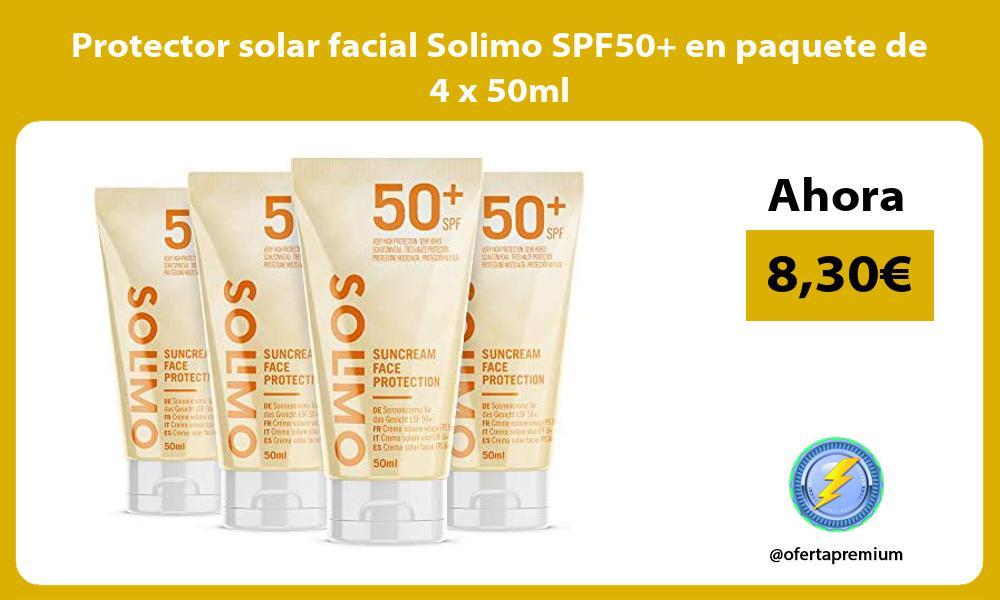 Protector solar facial Solimo SPF50 en paquete de 4 x 50ml