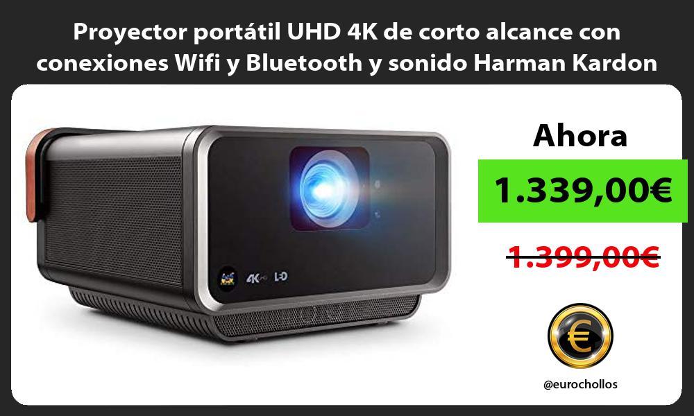 Proyector portátil UHD 4K de corto alcance con conexiones Wifi y Bluetooth y sonido Harman Kardon
