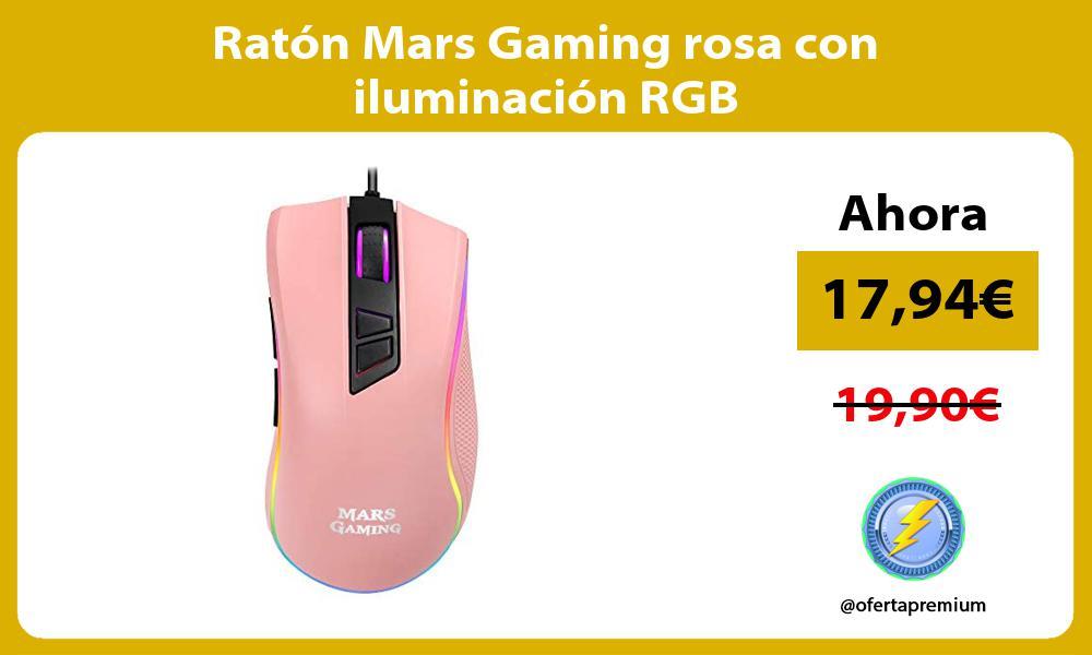 Ratón Mars Gaming rosa con iluminación RGB