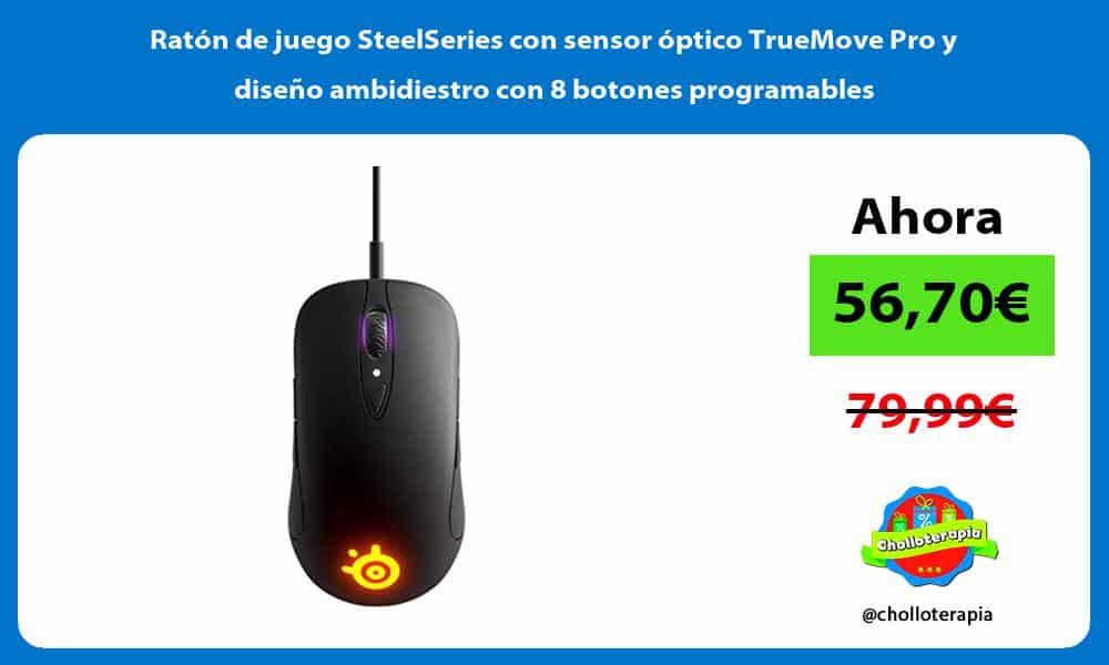 Ratón de juego SteelSeries con sensor óptico TrueMove Pro y diseño ambidiestro con 8 botones programables