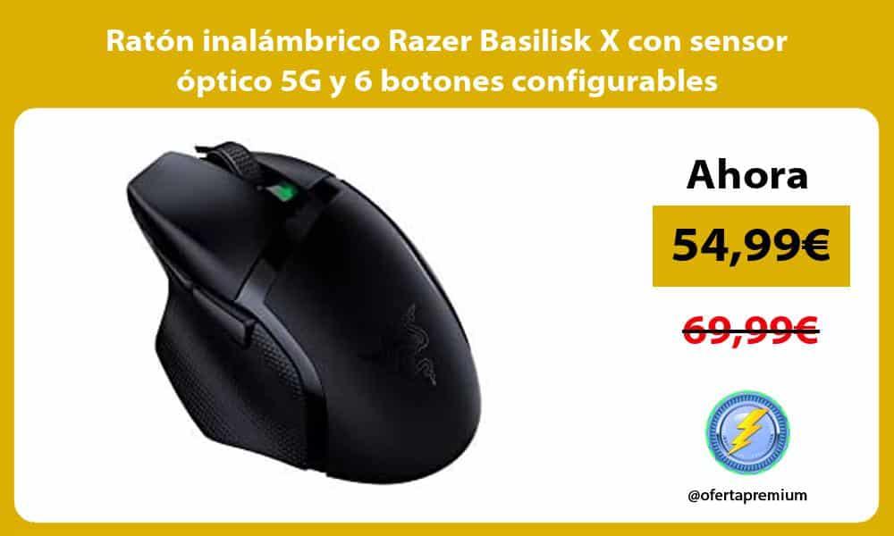 Ratón inalámbrico Razer Basilisk X con sensor óptico 5G y 6 botones configurables