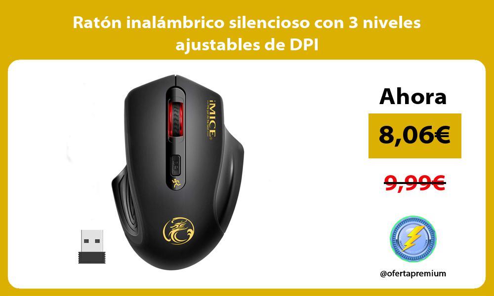Ratón inalámbrico silencioso con 3 niveles ajustables de DPI