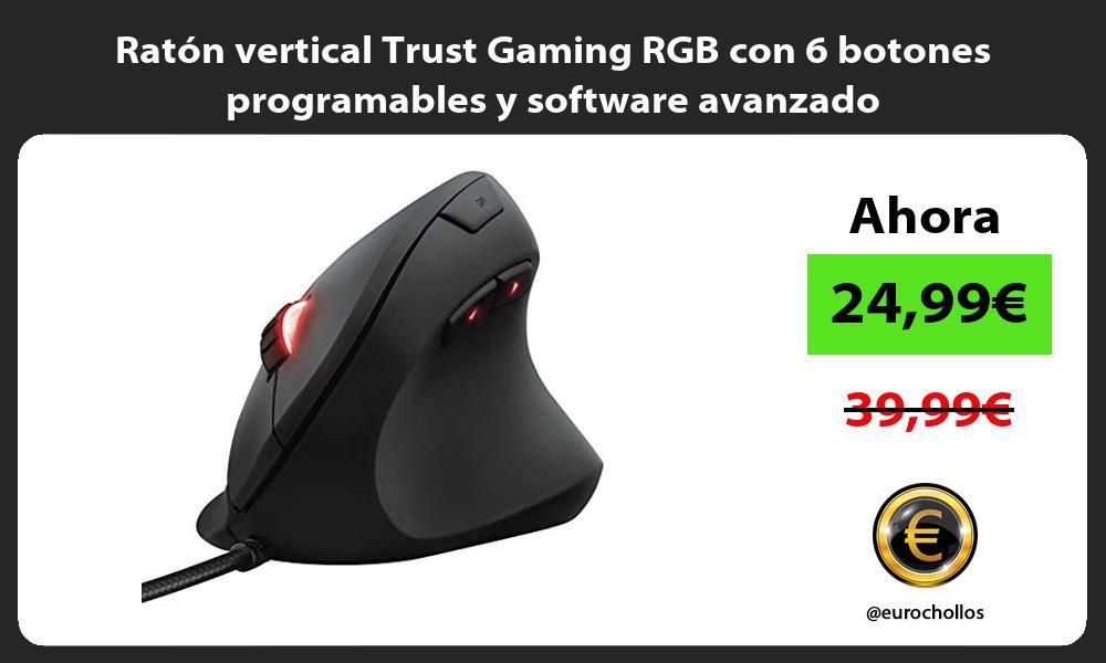 Ratón vertical Trust Gaming RGB con 6 botones programables y software avanzado