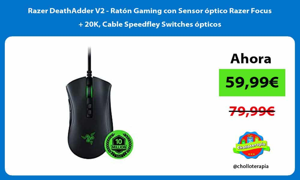 Razer DeathAdder V2 Ratón Gaming con Sensor óptico Razer Focus 20K Cable Speedfley Switches ópticos