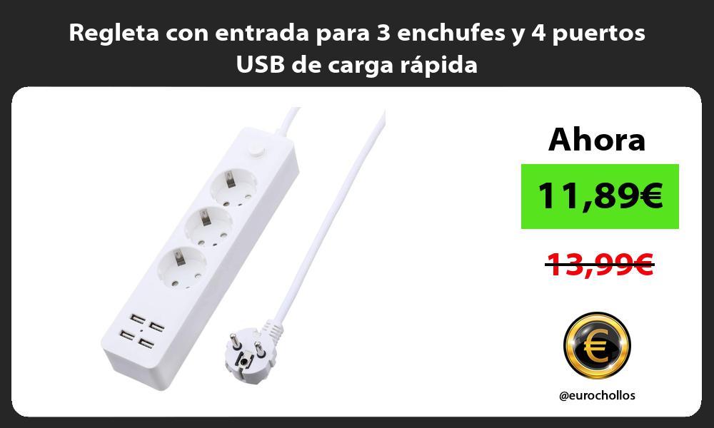Regleta con entrada para 3 enchufes y 4 puertos USB de carga rápida
