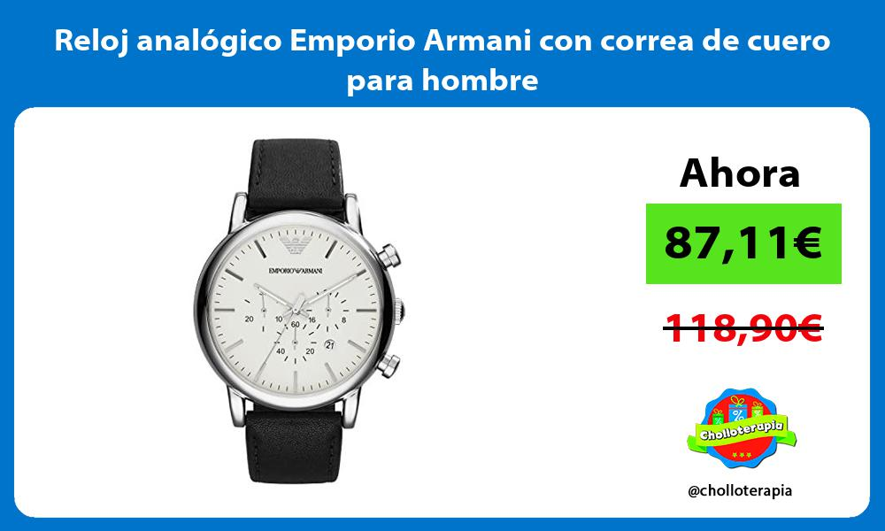 Reloj analógico Emporio Armani con correa de cuero para hombre