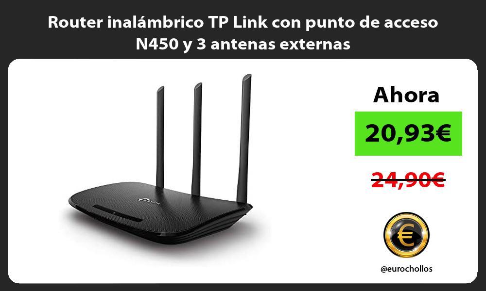 Router inalámbrico TP Link con punto de acceso N450 y 3 antenas externas