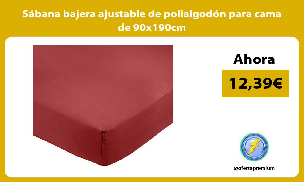 Sábana bajera ajustable de polialgodón para cama de 90x190cm