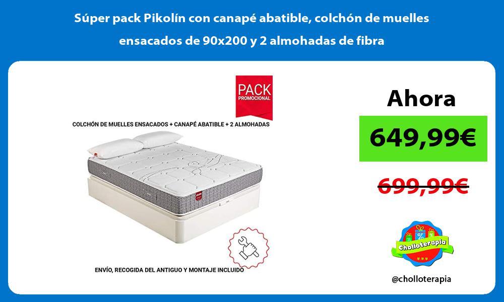 Súper pack Pikolín con canapé abatible colchón de muelles ensacados de 90x200 y 2 almohadas de fibra