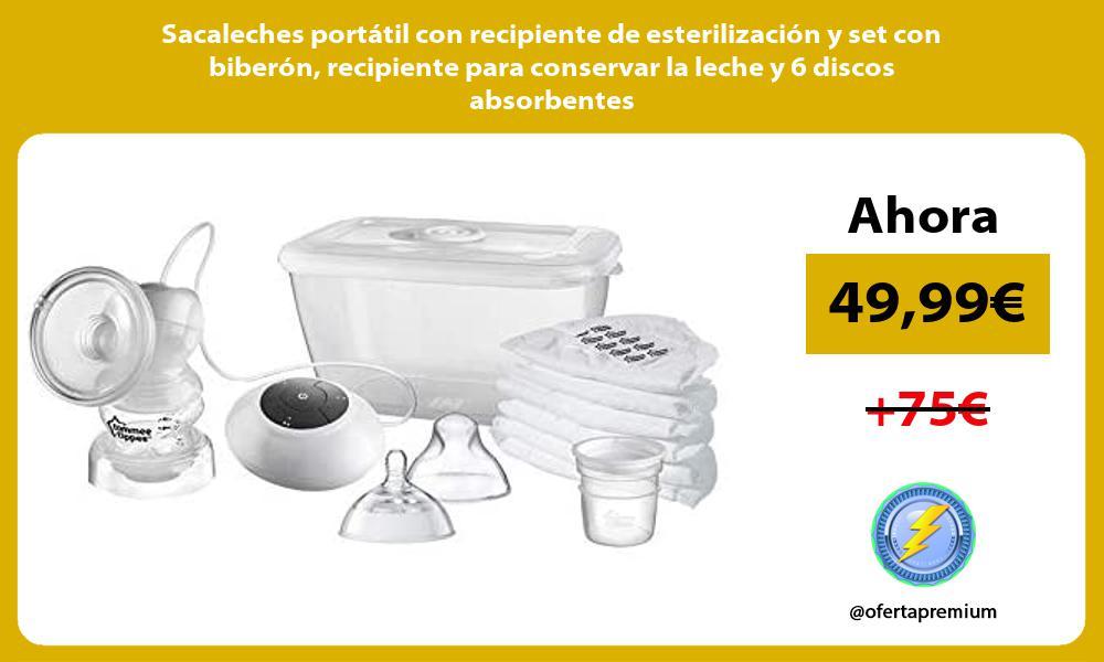 Sacaleches portátil con recipiente de esterilización y set con biberón recipiente para conservar la leche y 6 discos absorbentes