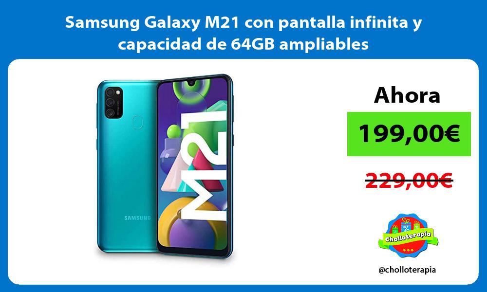 Samsung Galaxy M21 con pantalla infinita y capacidad de 64GB ampliables
