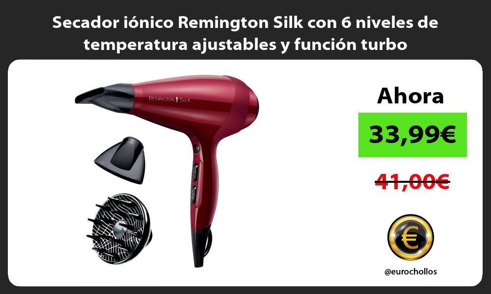 Secador iónico Remington Silk con 6 niveles de temperatura ajustables y función turbo