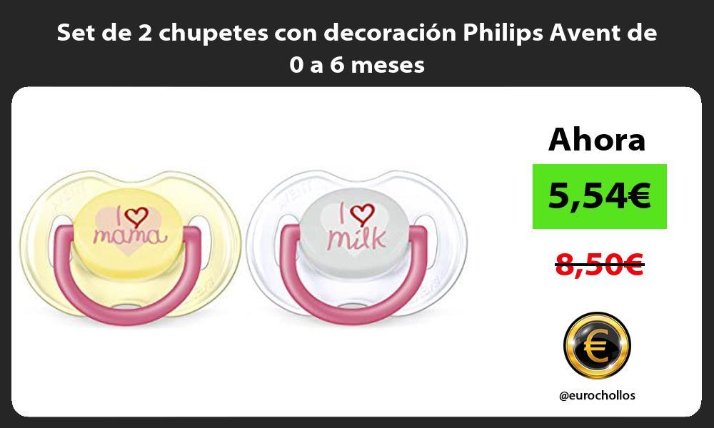Set de 2 chupetes con decoración Philips Avent de 0 a 6 meses