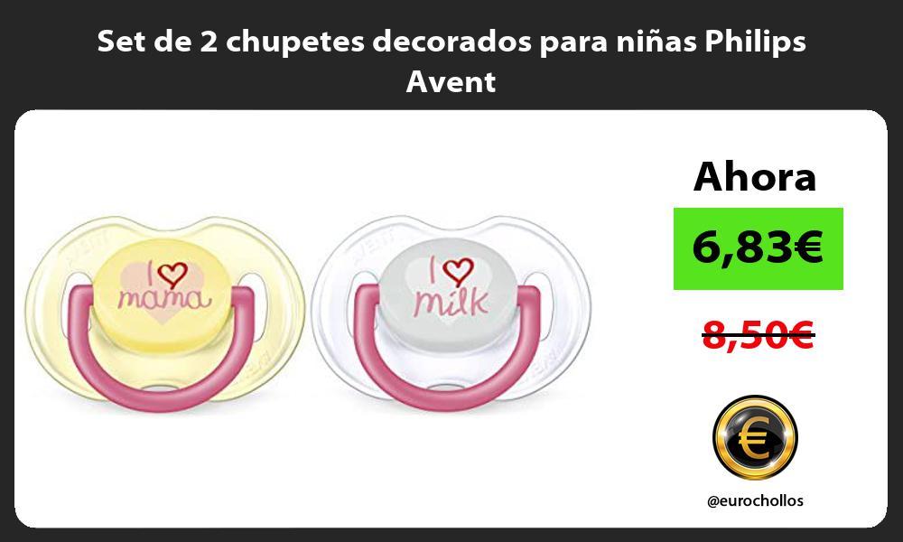 Set de 2 chupetes decorados para niñas Philips Avent