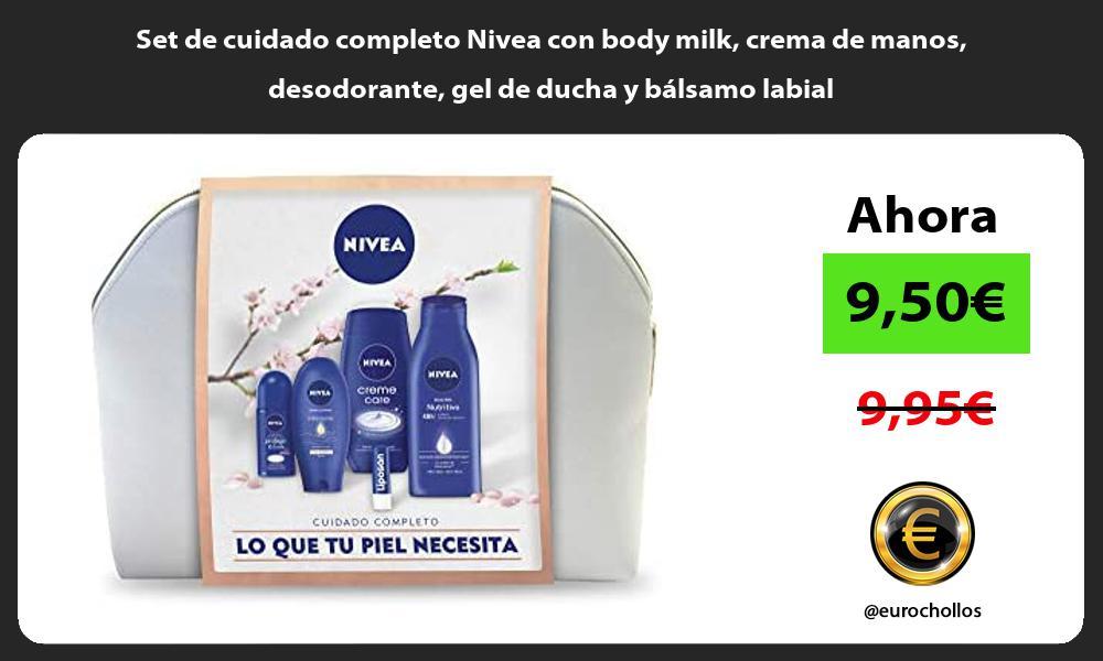 Set de cuidado completo Nivea con body milk crema de manos desodorante gel de ducha y bálsamo labial
