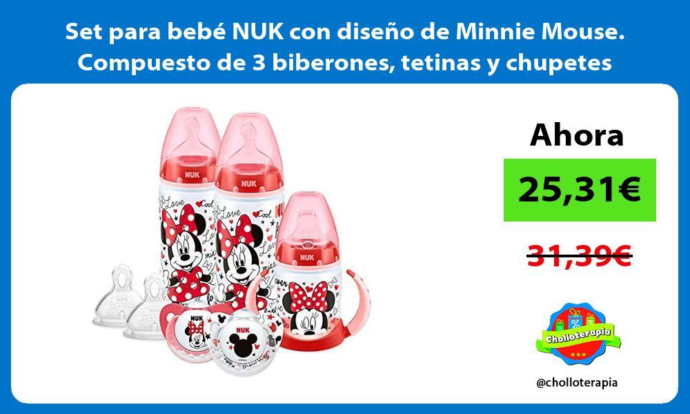 Set para bebé NUK con diseño de Minnie Mouse Compuesto de 3 biberones tetinas y chupetes