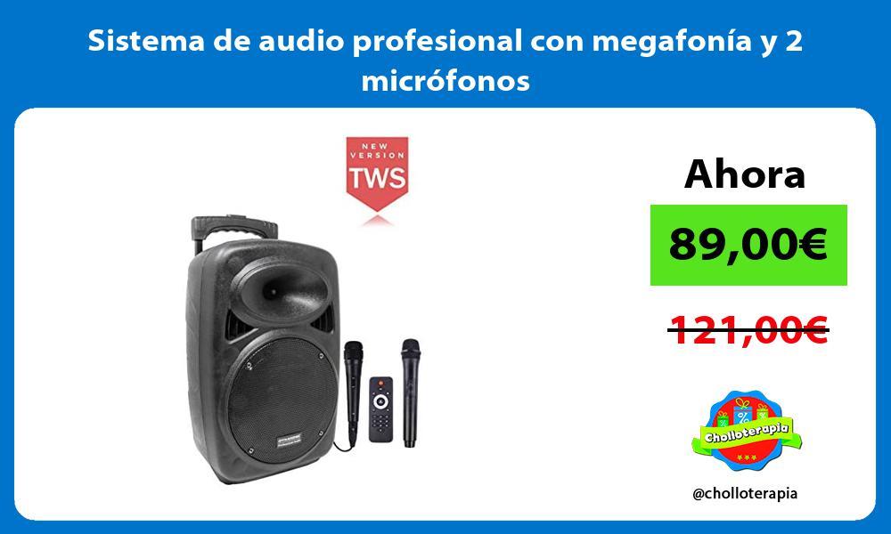 Sistema de audio profesional con megafonía y 2 micrófonos