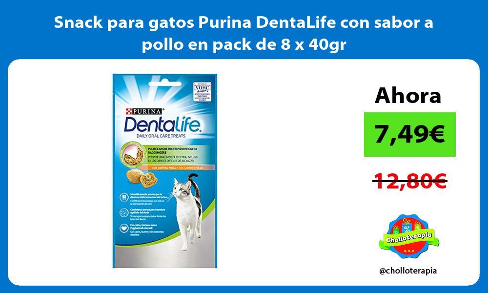 Snack para gatos Purina DentaLife con sabor a pollo en pack de 8 x 40gr