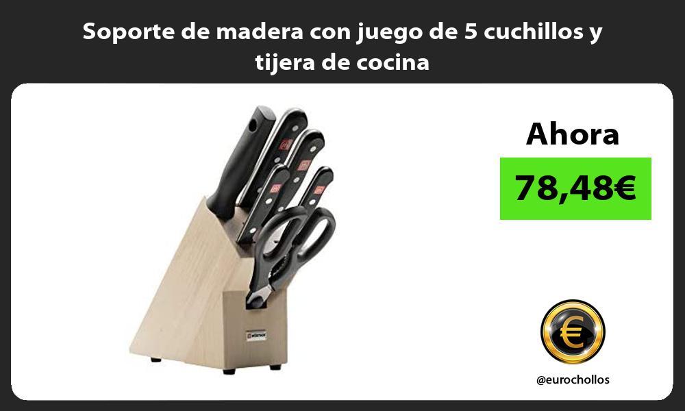 Soporte de madera con juego de 5 cuchillos y tijera de cocina