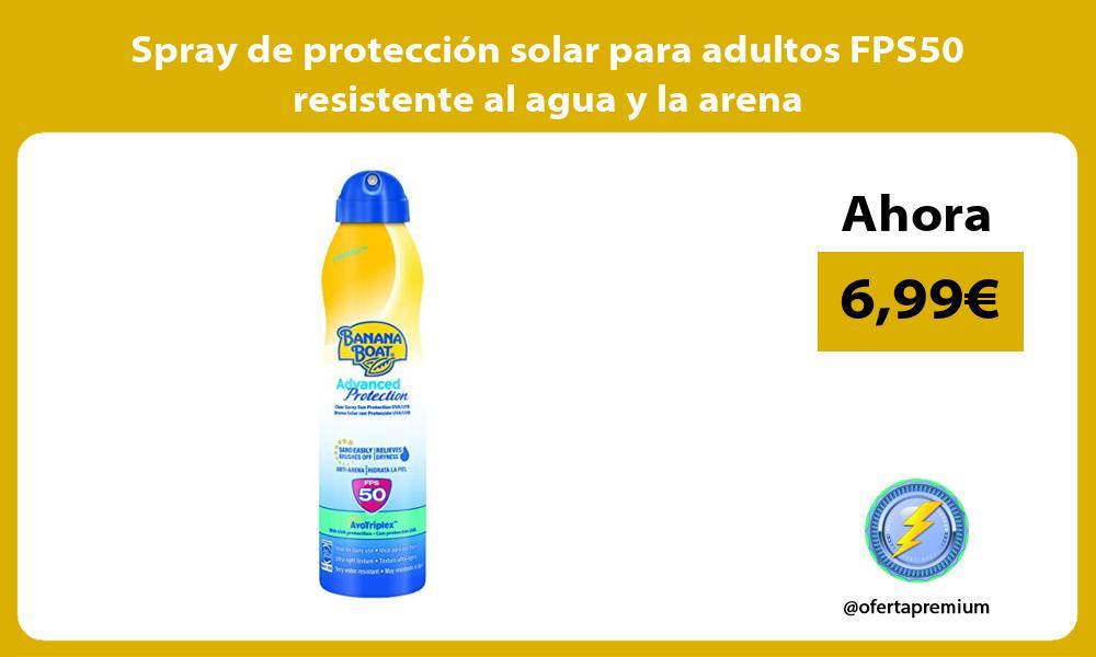 Spray de protección solar para adultos FPS50 resistente al agua y la arena