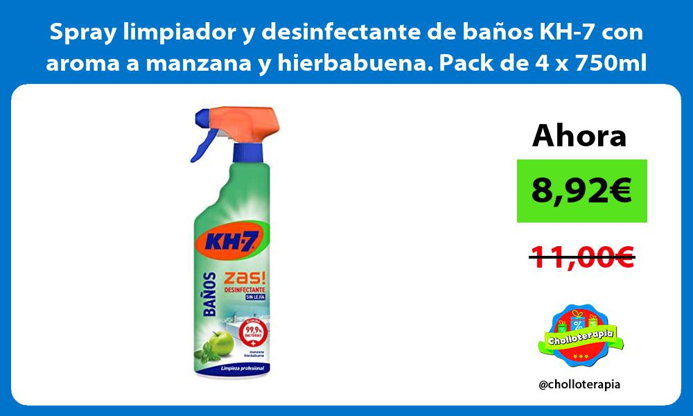 Spray limpiador y desinfectante de baños KH 7 con aroma a manzana y hierbabuena Pack de 4 x 750ml