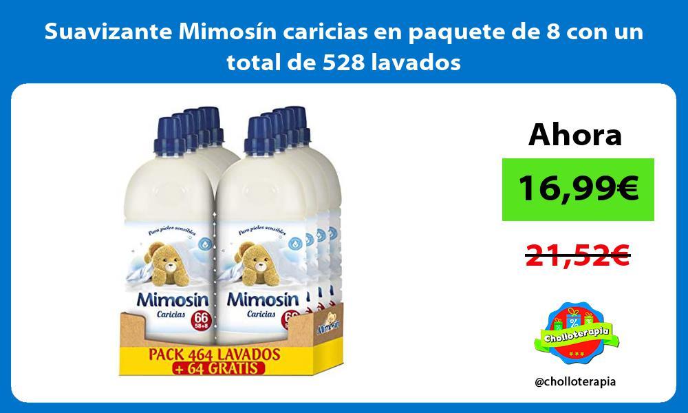Suavizante Mimosín caricias en paquete de 8 con un total de 528 lavados