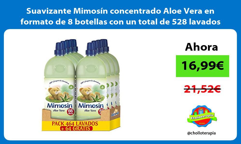Suavizante Mimosín concentrado Aloe Vera en formato de 8 botellas con un total de 528 lavados