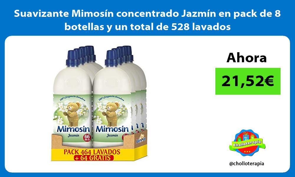 Suavizante Mimosín concentrado Jazmín en pack de 8 botellas y un total de 528 lavados
