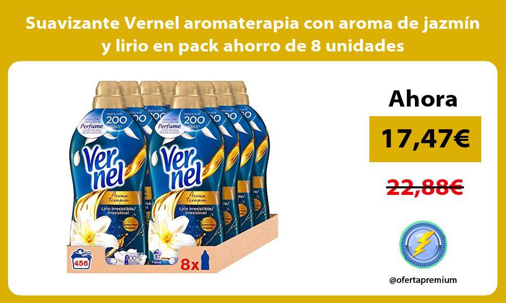 Suavizante Vernel aromaterapia con aroma de jazmín y lirio en pack ahorro de 8 unidades
