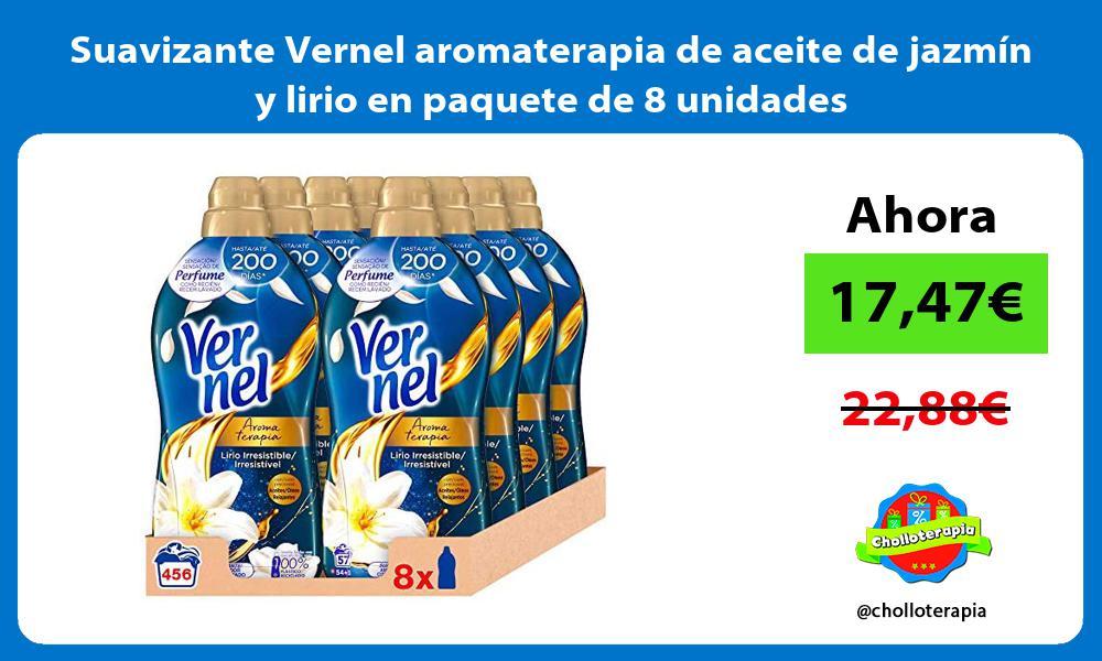 Suavizante Vernel aromaterapia de aceite de jazmín y lirio en paquete de 8 unidades