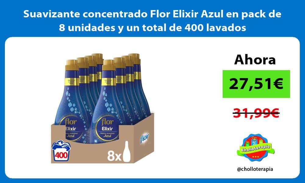 Suavizante concentrado Flor Elixir Azul en pack de 8 unidades y un total de 400 lavados