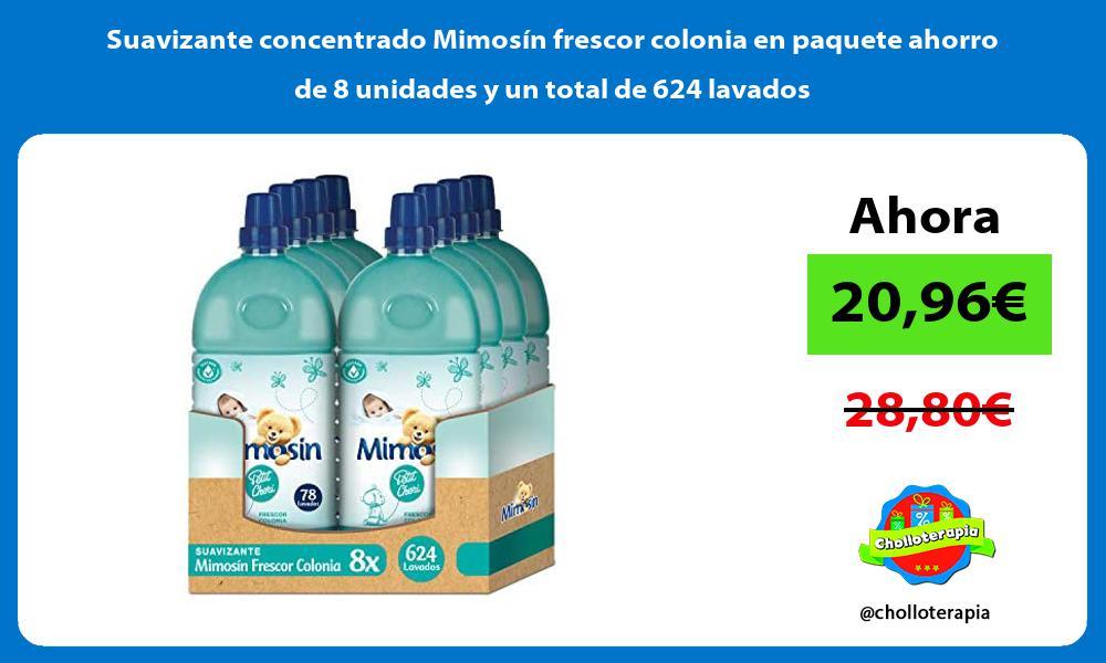 Suavizante concentrado Mimosín frescor colonia en paquete ahorro de 8 unidades y un total de 624 lavados