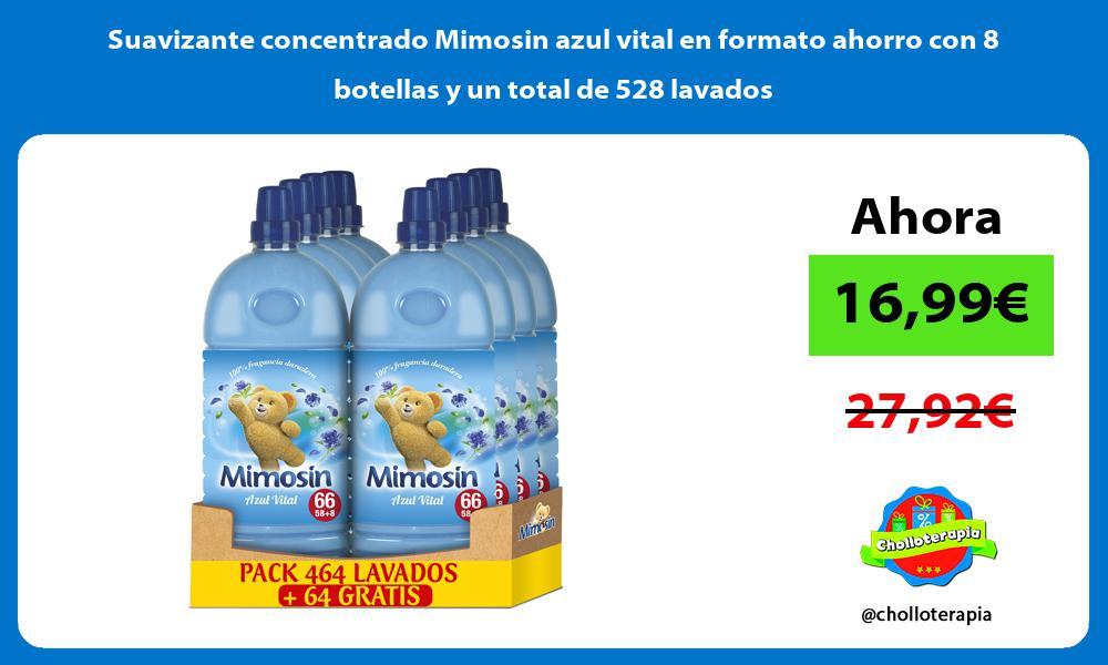 Suavizante concentrado Mimosin azul vital en formato ahorro con 8 botellas y un total de 528 lavados
