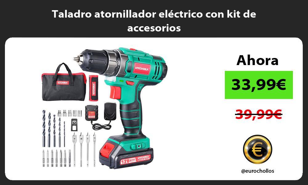 Taladro atornillador eléctrico con kit de accesorios