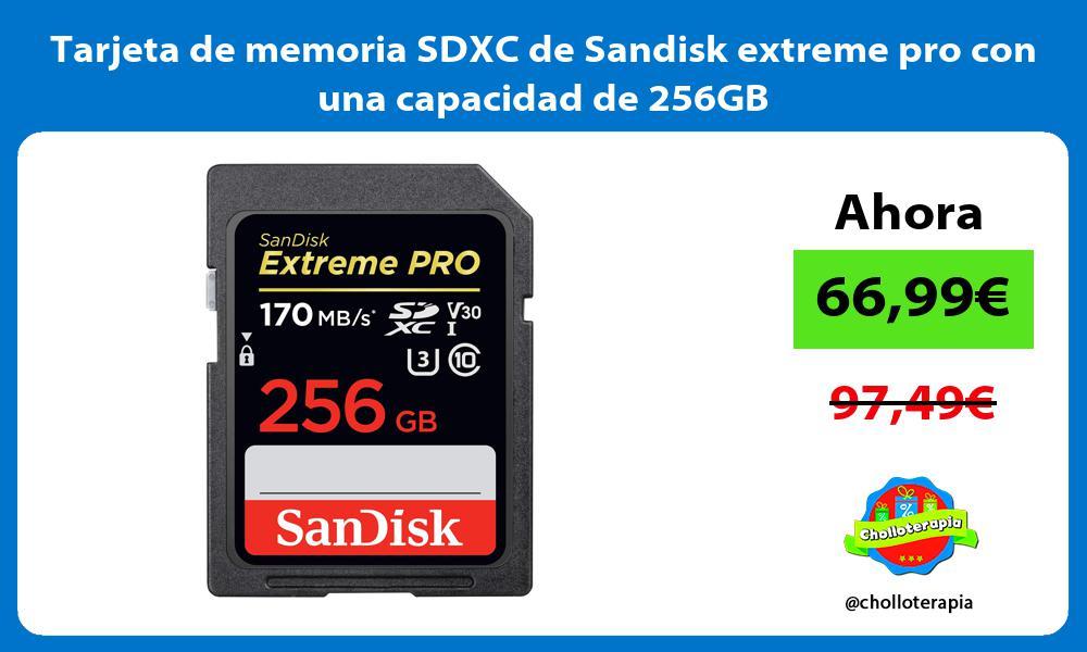 Tarjeta de memoria SDXC de Sandisk extreme pro con una capacidad de 256GB