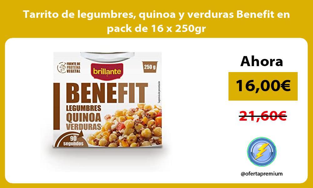 Tarrito de legumbres quinoa y verduras Benefit en pack de 16 x 250gr