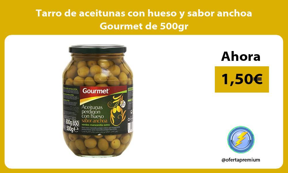 Tarro de aceitunas con hueso y sabor anchoa Gourmet de 500gr