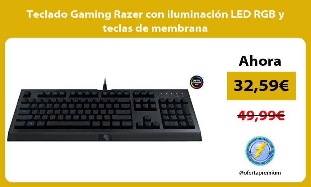 Teclado Gaming Razer con iluminación LED RGB y teclas de membrana