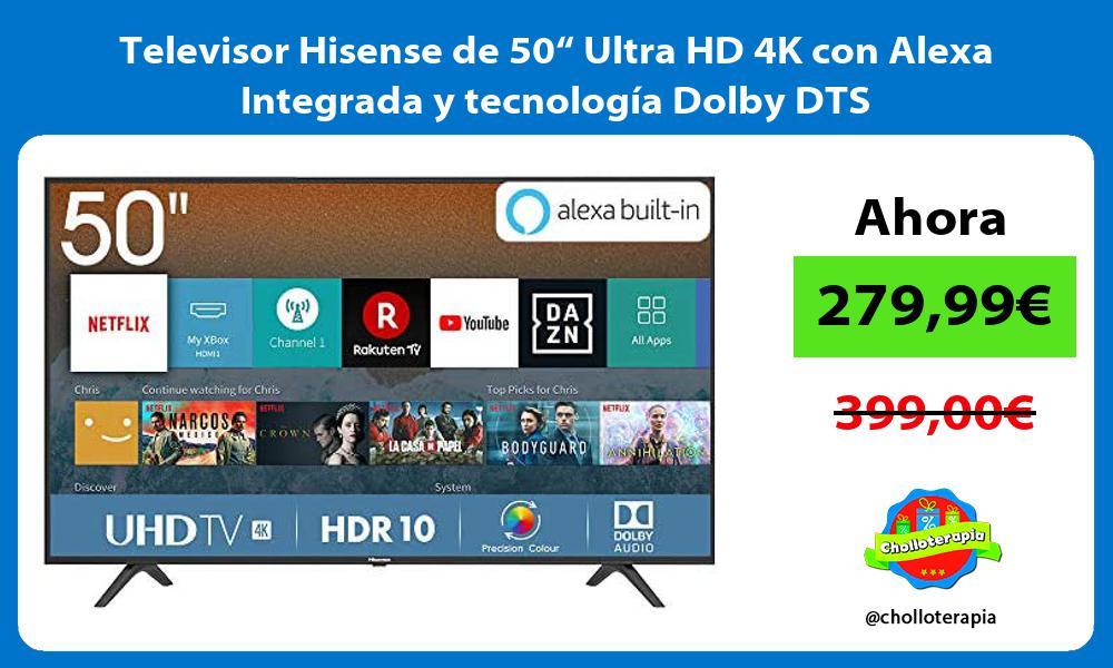 """Televisor Hisense de 50"""" Ultra HD 4K con Alexa Integrada y tecnología Dolby DTS"""