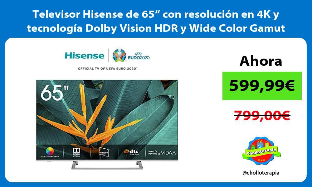 """Televisor Hisense de 65"""" con resolución en 4K y tecnología Dolby Vision HDR y Wide Color Gamut"""