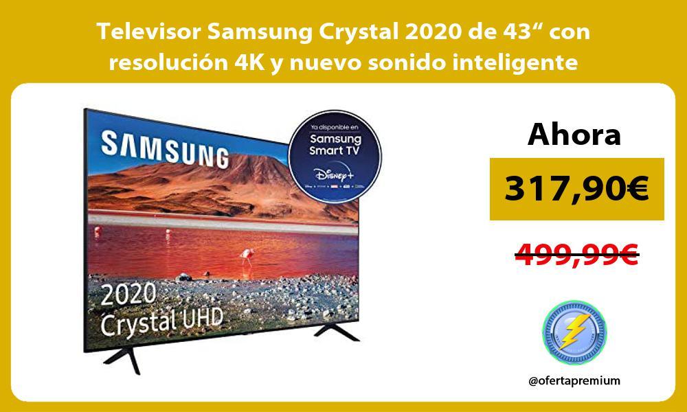 """Televisor Samsung Crystal 2020 de 43"""" con resolución 4K y nuevo sonido inteligente"""
