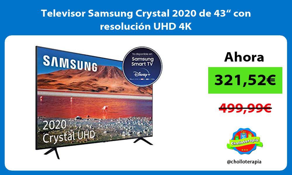 "Televisor Samsung Crystal 2020 de 43"" con resolución UHD 4K"