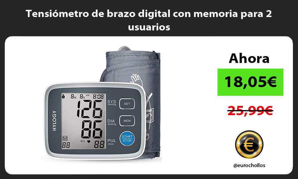 Tensiómetro de brazo digital con memoria para 2 usuarios