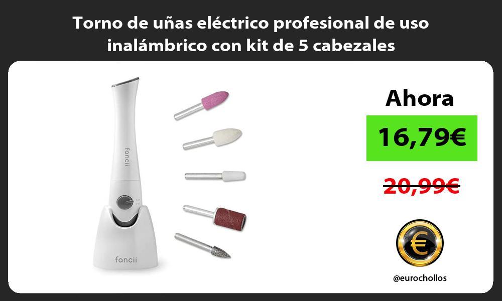 Torno de uñas eléctrico profesional de uso inalámbrico con kit de 5 cabezales