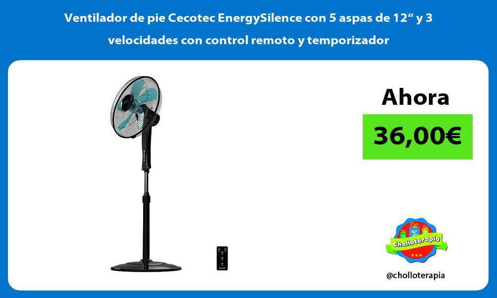 """Ventilador de pie Cecotec EnergySilence con 5 aspas de 12"""" y 3 velocidades con control remoto y temporizador"""