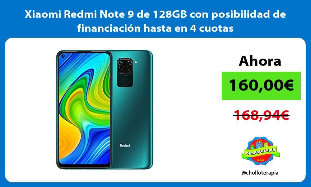 Xiaomi Redmi Note 9 de 128GB con posibilidad de financiación hasta en 4 cuotas