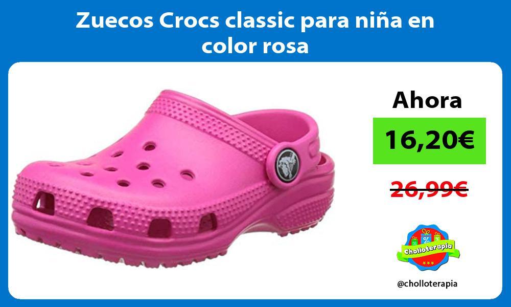 Zuecos Crocs classic para niña en color rosa